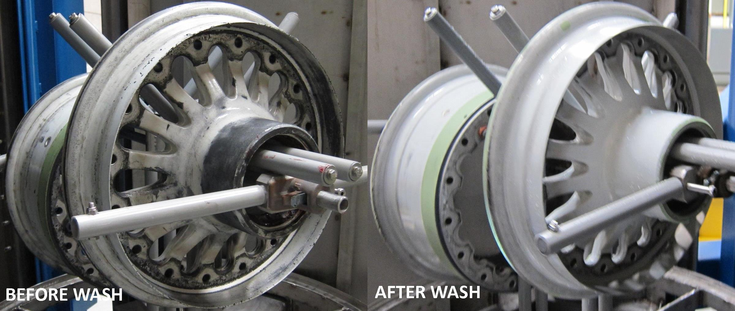 Aircraft Wheels Cleaning Results StingRay Aqueous Parts Washer