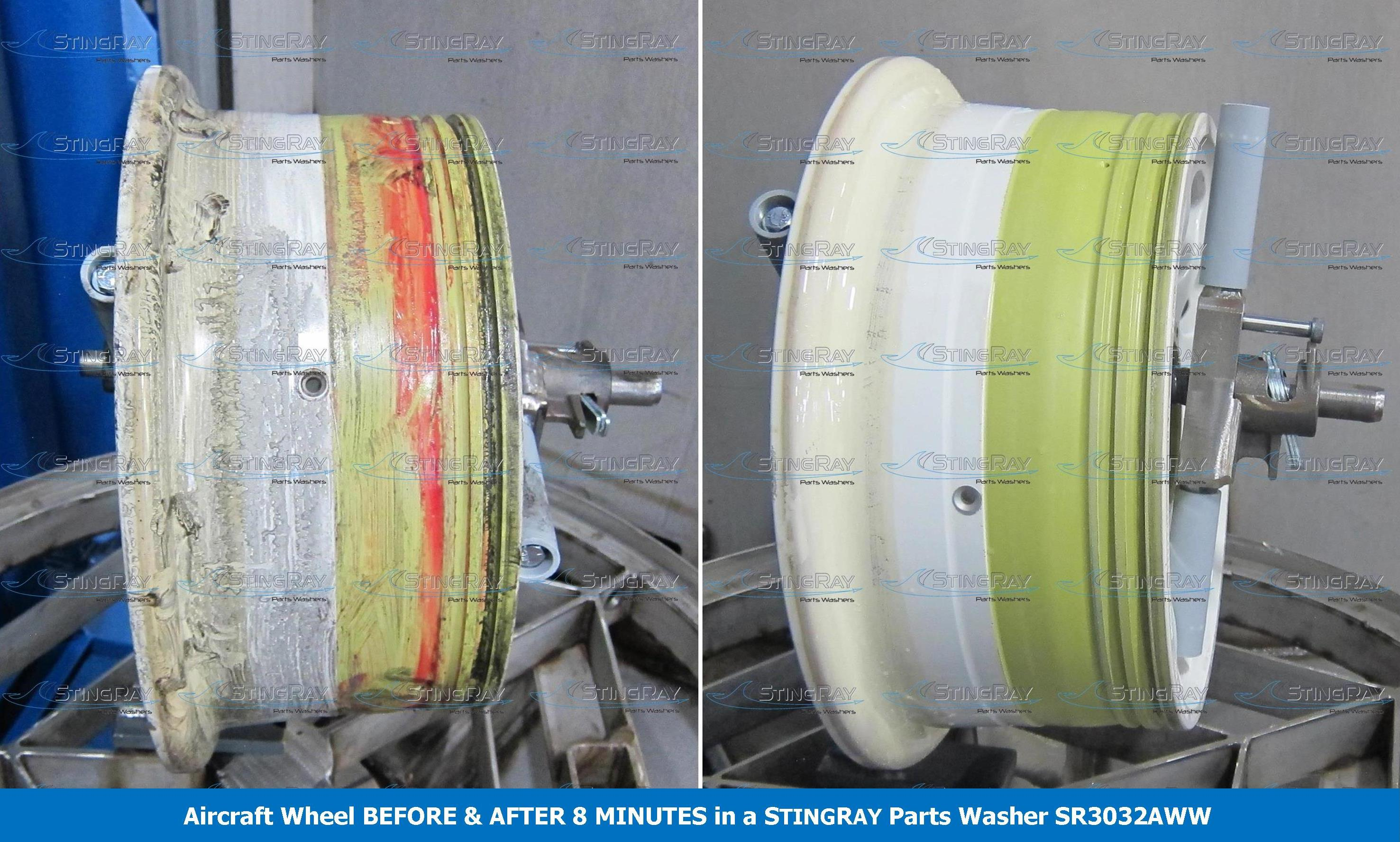 Aircraft Wheel Rubber Bead Cleaning Results in Heavy Duty Parts Washer StingRay