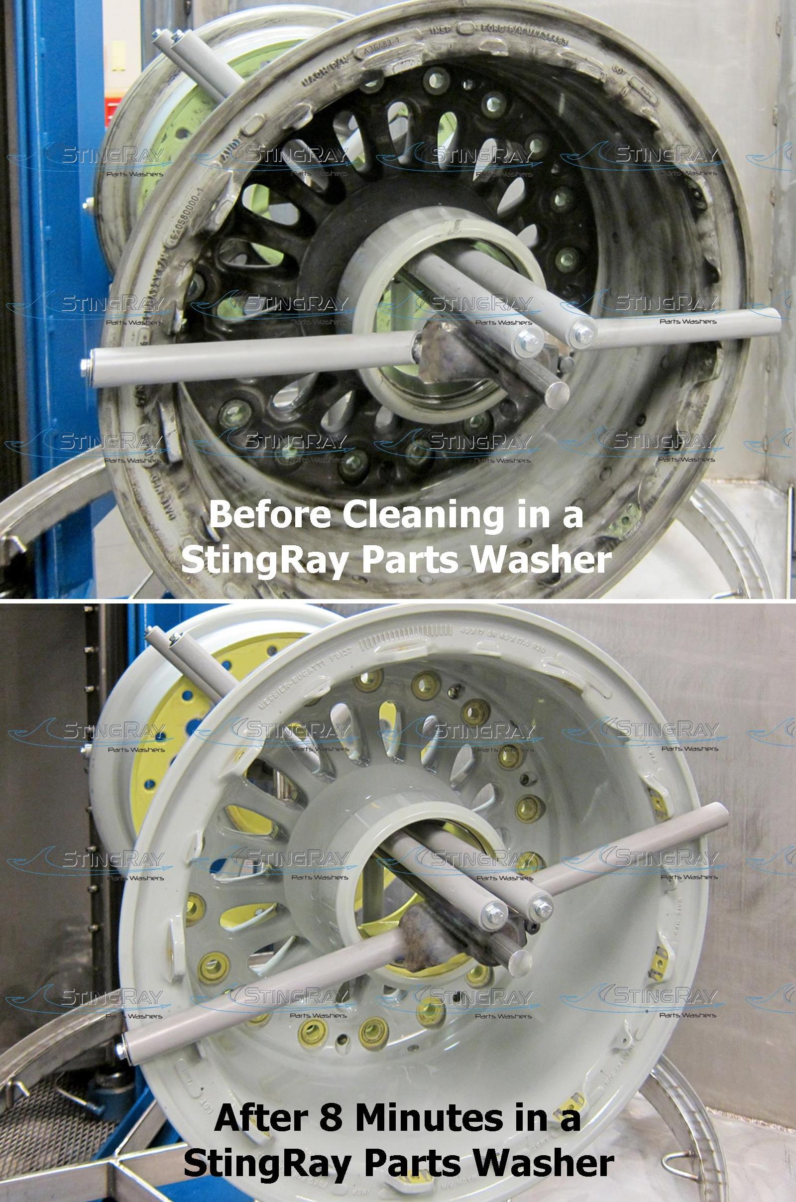 StingRay Industrial parts washer aircraft wheel cleaning results
